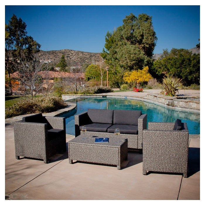 4-Piece Outdoor Wicker Resin Patio Furniture - 4-Piece Outdoor Wicker Resin Patio Furniture Seating Set With Cushions