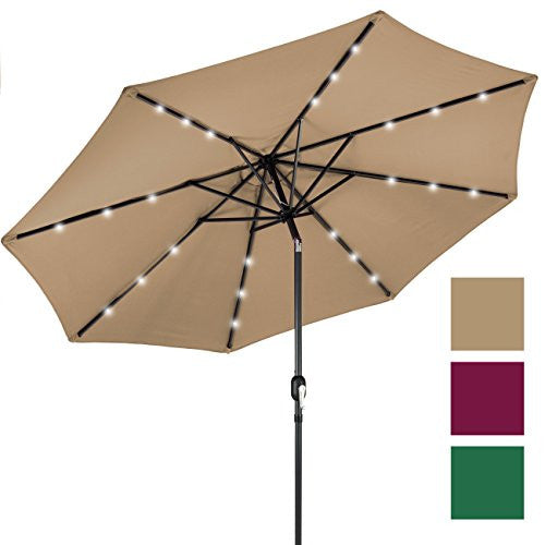 10' Deluxe Solar LED Lighted Patio Umbrella With Tilt Adjustment-Tan