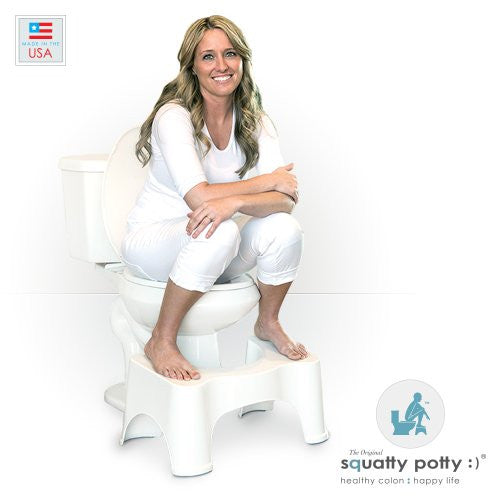 "Squatty Potty The Original Bathroom Toilet Stool 7"" & 9"" 2 Pack- White"