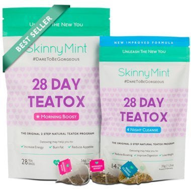 SkinnyMint 28 Day Ultimate Teatox, Natural 2 Step Tea Detox Program