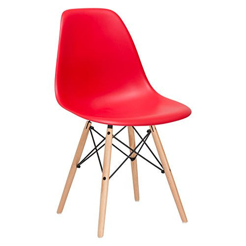 Poly and Bark EM-105-NAT-RED-X4 Eames Style DSW Side Chair with a Natural Base (Set of 4), Red