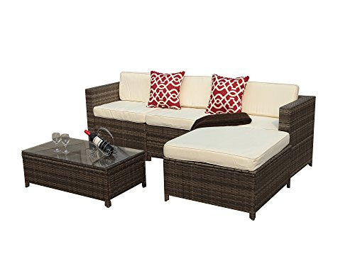 5pc Outdoor PE Wicker Rattan Sectional Furniture Set with Cream White Seat and Back Cushions