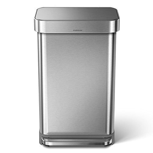 45L Rectangular Step Trash Can with Liner Pocket 45 Litre / 11.9 Gallon