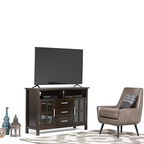 "Simpli Home Kitchener Tall TV Media Stand for TVs up to 60"", Dark Walnut Brown"