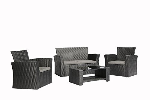 4 Pieces Outdoor Furniture Complete Patio Cushion Wicker Rattan