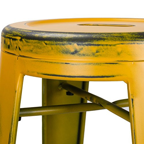 "Adeco 30"" Metal Stools, Vintage Barstool, Antique Distressed Yellow, Set of 2"