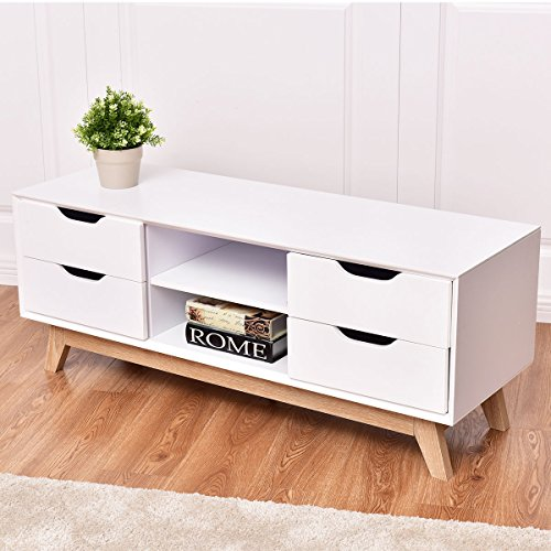 tangkula wood tv stand storage console media center with legs