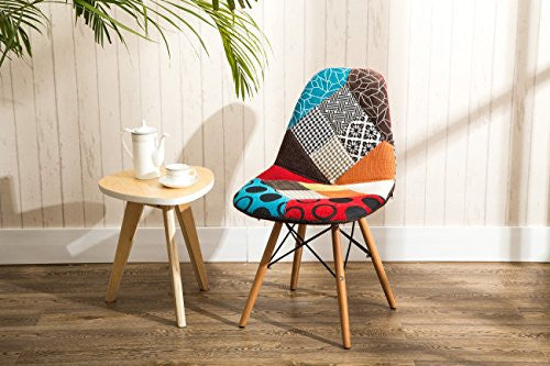 Belleze Set of Two (2) Multicolor Modern Upholstered Eames Style Side Chair Fabric Patchwork Eiffel, Natural Wood Leg