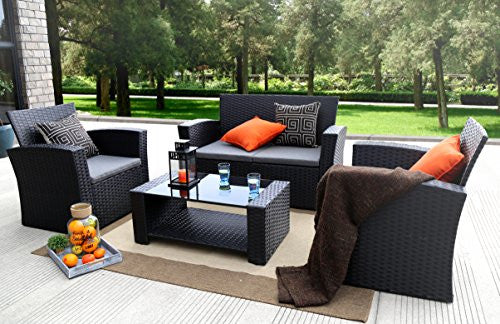 4 Pieces Outdoor Furniture Complete Patio Cushion Wicker Rattan Garden  Set. 4 Pieces Outdoor Furniture Complete Patio Cushion Wicker Rattan