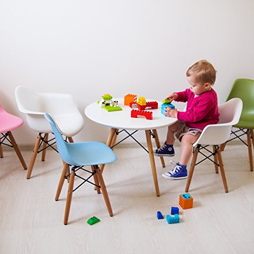 Kids Dining Table And Chair Set Buschman Set Of White Eames Style Kids  Dining Room Mid