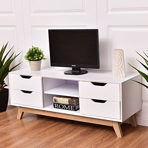 Tangkula Wood TV Stand Storage Console Entertainment Media Center with Legs