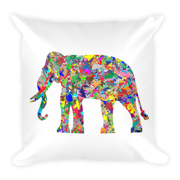 Decorated Multicolored Indian Elephant Throw Pillow