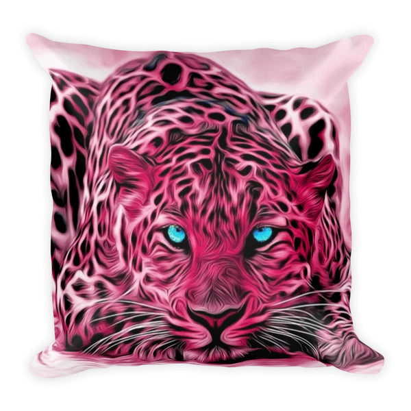 Pink Tiger Square Throw Pillow