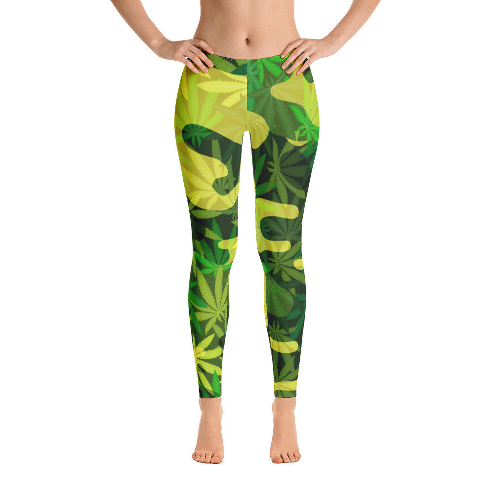 Green Camouflage Marijuana Leaves Leggings