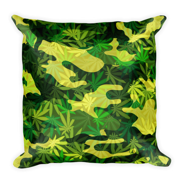 Camouflage Marijuana Leaves Square Throw Pillow