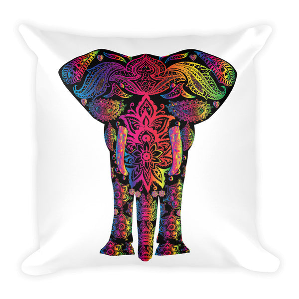 Decorated Colorful Indian Elephant Throw Pillow