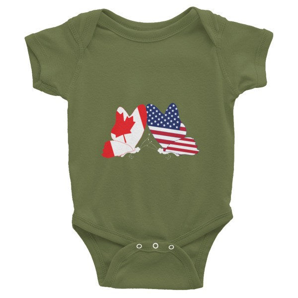 Onesie - USA & Canadian Flag Butterfly Infant Onesie