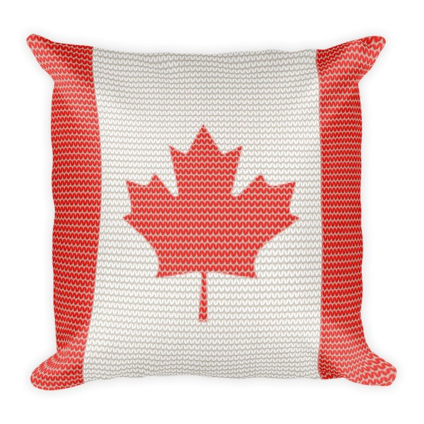 Pillow - Canadian Flag Knitted Style Pillow