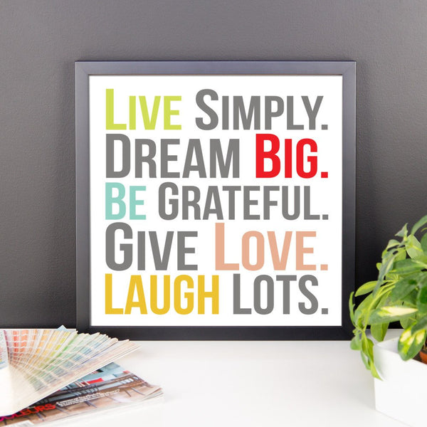 Poster - Live Simply Framed Photo Paper Poster