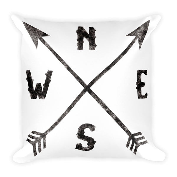 Throw Pillow - North South East And West Direction Throw Pillow