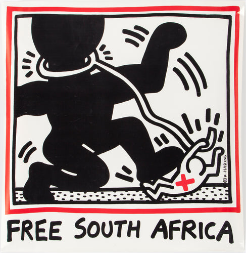 Keith Haring 'Free South Africa', Original Pop Art Poster, Plate Signed, 1985
