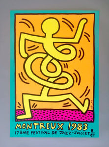 Keith Haring 'Montreux Jazz Festival III', Original Pop Art Poster, Plate Signed, 1983