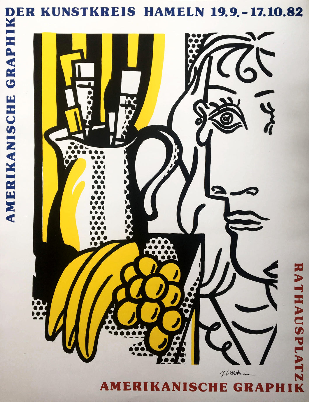 Roy Lichtenstein 'Still Life With Picasso', Original Pop Art Poster, Hand Signed, 1982