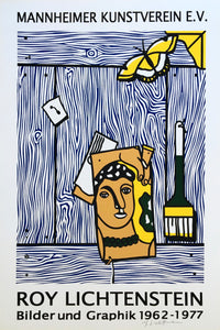 Roy Lichtenstein 'Léger Head with Paintbrush', Original Pop Art Poster, Hand Signed, 1977