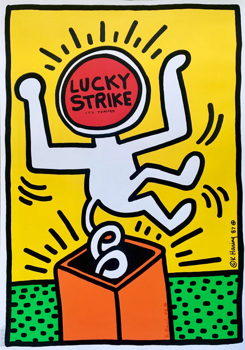 Keith Haring 'Lucky Strike II', Original Pop Art Poster, Hand Signed, 1987