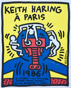 Keith Haring 'Á Paris', Original Pop Art Poster, Hand Signed, 1986