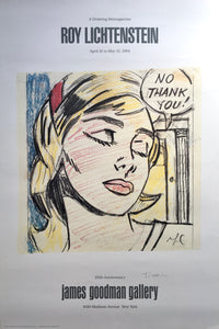 Roy Lichtenstein 'No Thank You!', Original Pop Art Poster, Hand Signed, 1984