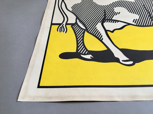 Roy Lichtenstein 'Cow Going Abstract', Original Pop Art Diptych Poster Set, Hand Signed, 1982
