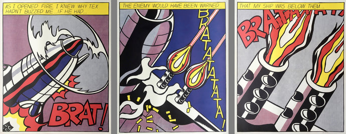 Roy Lichtenstein 'As I Opened Fire', Original Pop Art Triptych Poster Set, Hand Signed, 1960s