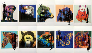 Andy Warhol 'Endangered Species Announcement Cards (Set of 10)', Hand Signed, 1983