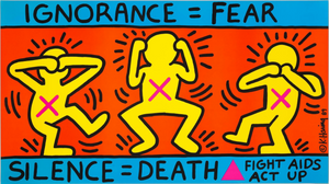 Keith Haring 'Ignorance=Fear', Original Pop Art Poster, Plate Signed, 1989