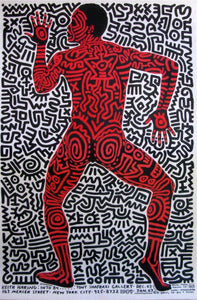 Keith Haring 'Into 84', Original Pop Art Poster, Plate Signed, 1983
