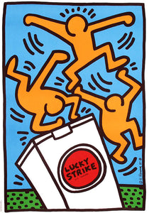 Keith Haring 'Lucky Strike III', Original Pop Art Poster, Plate Signed, 1987