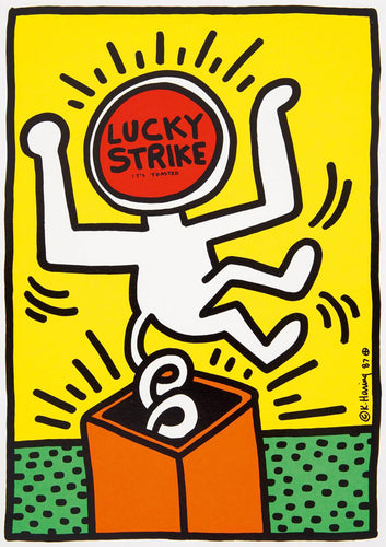 Keith Haring 'Lucky Strike II', Original Pop Art Poster, Plate Signed, 1987
