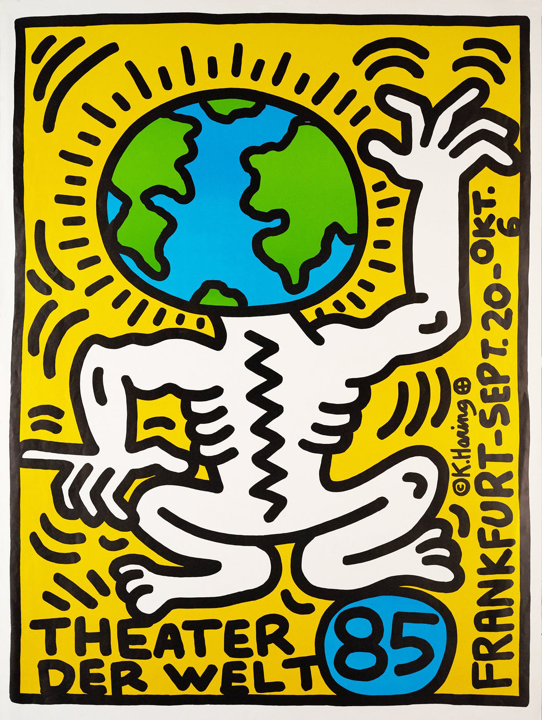 Keith Haring 'Theater der Welt', Original Pop Art Poster, Plate Signed, 1985