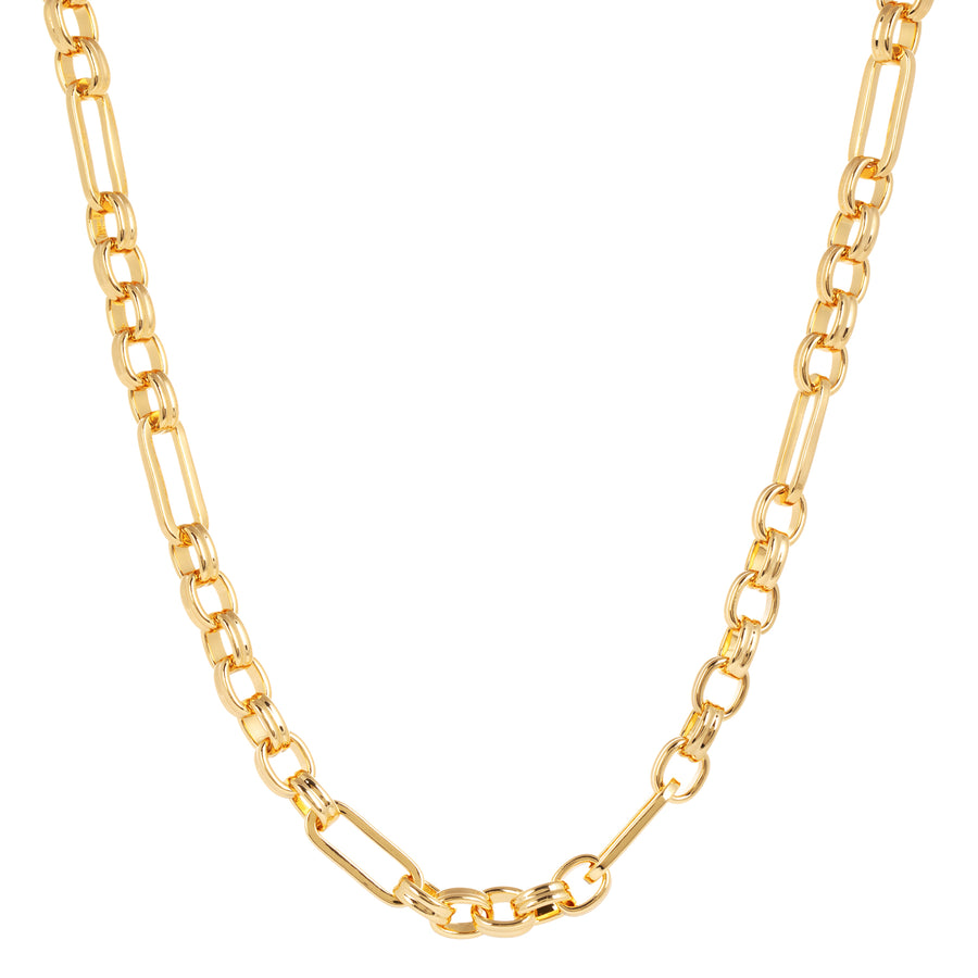 The standout Anna Chunky mixed link Gold Necklace is handmade using brass and 14 Carat Fair Trade Gold. The necklace is bold worn on its own or may be layered with other chains.