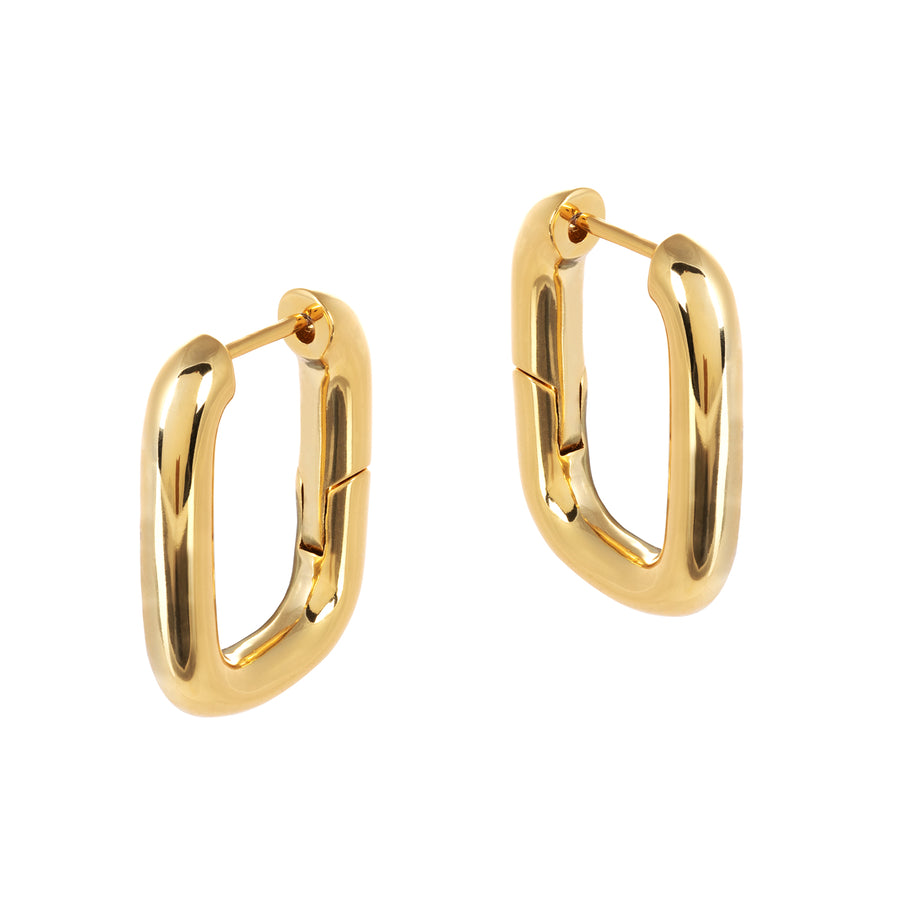 These Bella Chunky Rectangular Gold Earrings are the must have earrings for this season! Handmade with brass and vacuum plated with a thick layers of pure 18 Carat Fair Trade gold, these chunky hoops will go with any outfit.
