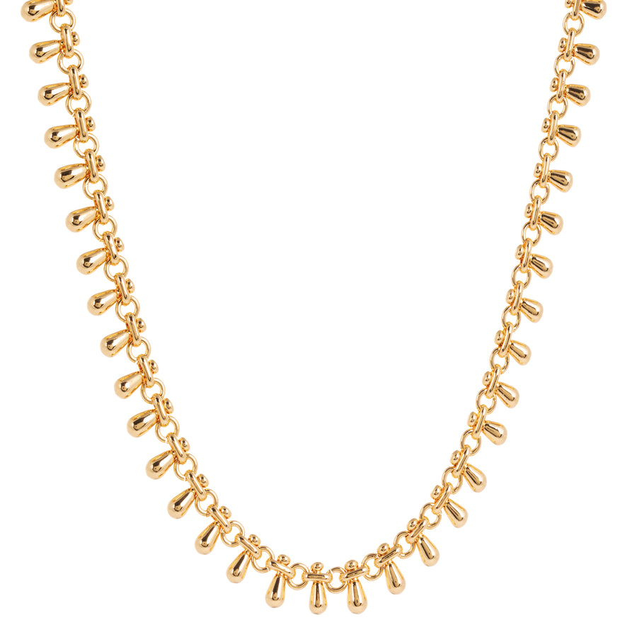 The Katia Gold Chain Necklace with Teardrop Tassels is inspired by vintage Indian jewellery. This short handmade necklace perfectly sits high up on your neck but can also be adjusted to a longer length for those wanting to layer chain.