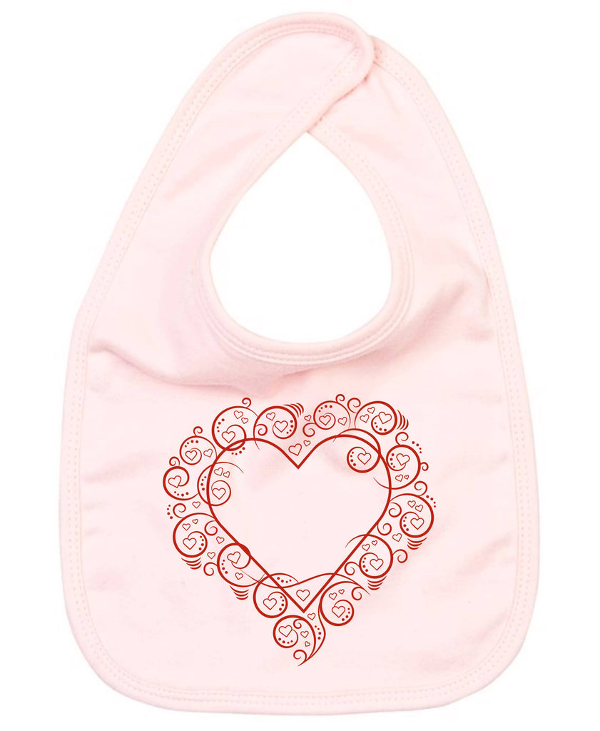 Swirly Framed Heart Baby Bib