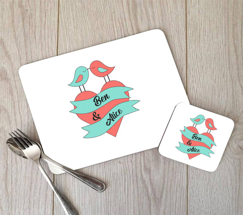 Personalised Love Birds Placemat