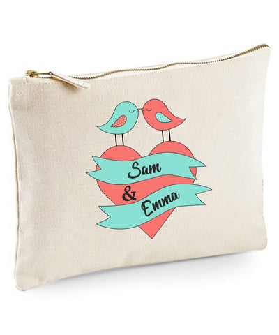 Personalised Love Birds Toiletries Bag