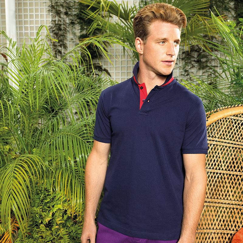Men's classic fit contrast polo