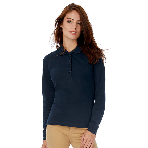 B&C Women's Safran long sleeve Polo