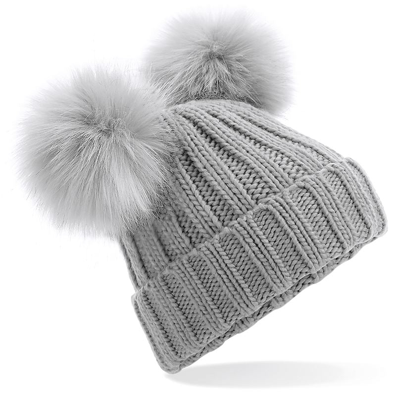 Faux-Fur Double Pom Pom Beanie