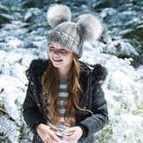 Faux-Fur Double Pom Pom Junior Beanie