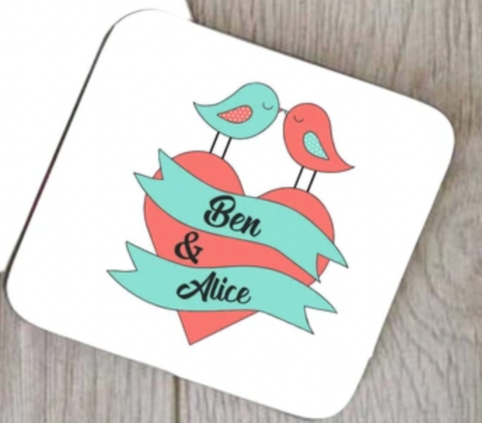 Personalised Love Birds Coaster